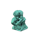 Animal Crossing statue pensive