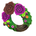 Animal Crossing couronne roses sombre